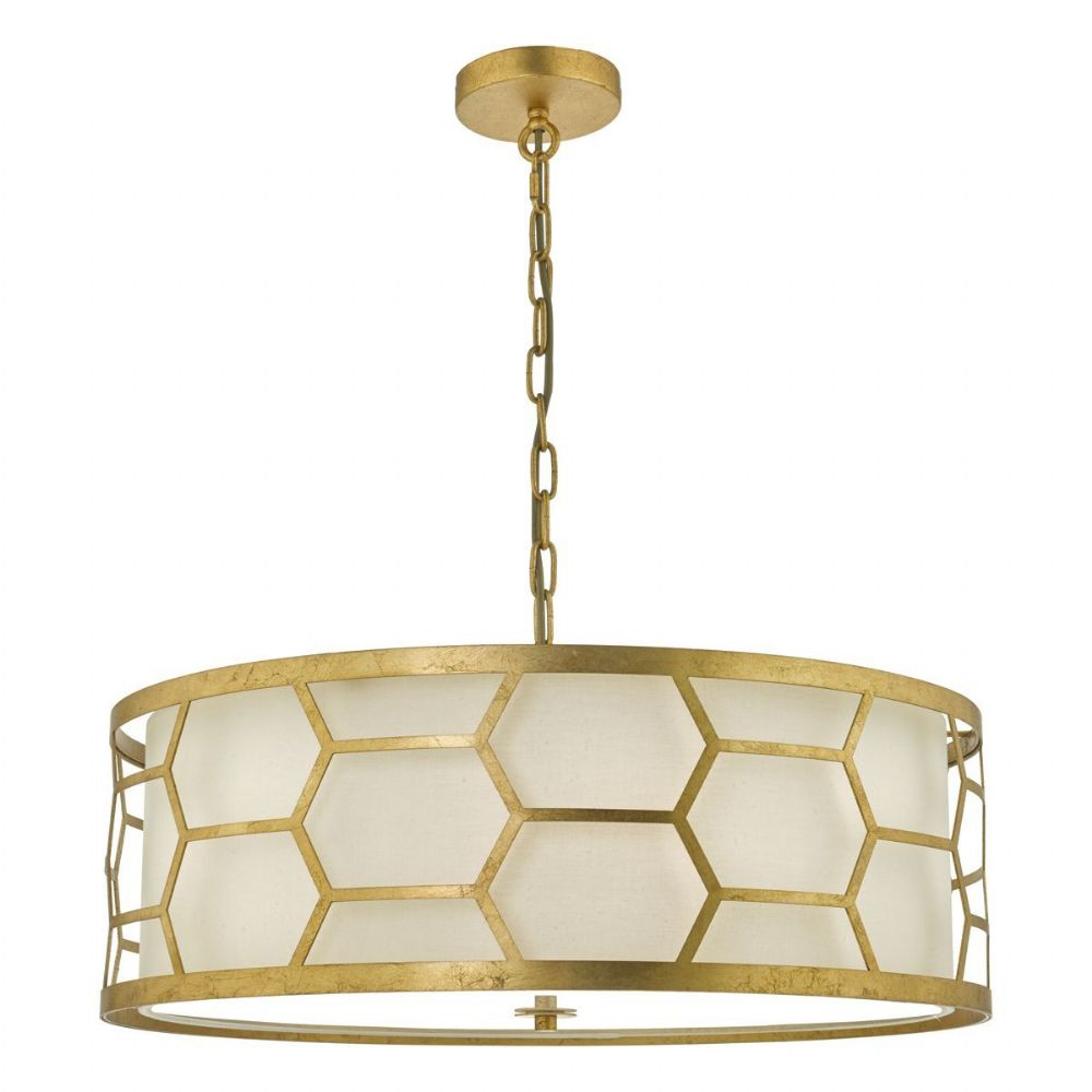 Epstein 4lt Pendant Gold With Ivory Shade & Frosted Glass Diffuser (double insulated) BXEPS0412-17